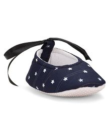 American Studio Start Print Cotton Booties With Satin Lace - Navy