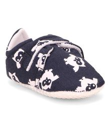 American Studio Owl Print Velcro Closure Booties - Navy