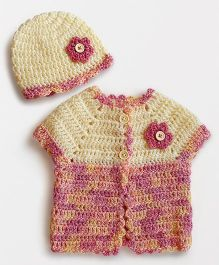 Dollops of Sunshine Sweet Pea Sweater And Hat Set - Peach