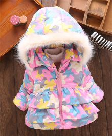 Superfie Floral Mix Winter Hooded Jacket - Pink