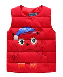 Superfie Cute Design Puffed Jacket - Red