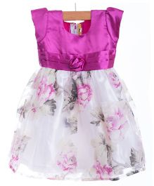 Utsa Boutique Floral Organza Dress - White & Fuschia Pink