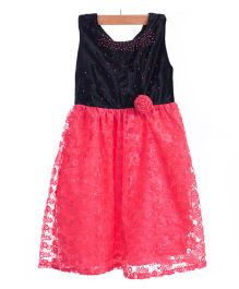 Utsa Boutique Cute Ethnic Dress - Black & Pinkish Peach