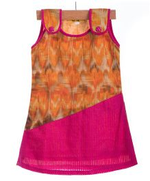 Utsa Boutique Elegant Dress - Orange & Pink