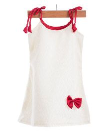 Utsa Boutique Cute Dress With Loop - White & Red