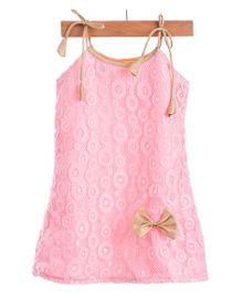 Utsa Boutique Elegant Dress With Bow - Pink & Gold