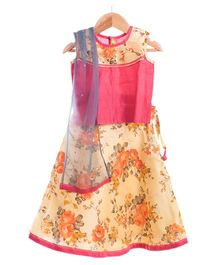 Utsa Boutique Floral Lehenga Set - Pink & Yellow & Grey