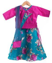 Utsa Boutique Elegant Floral Lehenga Choli Set - Pink & Blue