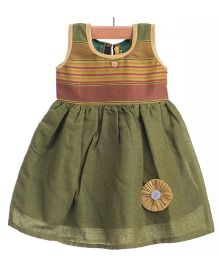 Utsa Boutique Classic Handloom Dress - Green