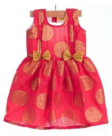 Utsa Boutique Silk Dress With Bow - Red & Gold