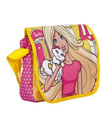 Barbie Printed Messenger Bag - Pink & Yellow