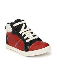 Tuskey Lace Tie-up High Ankle Sneakers - Red Black