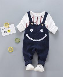 Lil Mantra Smiley Print Dungaree With T-Shirt - Navy Blue