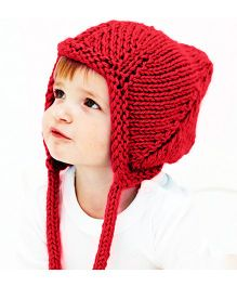 Magic Needles Handmade Pixie Gnome Cap With Earflaps - Red