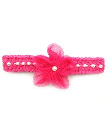Magic Needles Hairband With Pearls & Flowers - Dark Pink