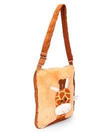 IR Soft Fur Shoulder Bag Giraffe Applique- Brown