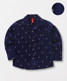 Spark Full Sleeves Printed Shirt - Navy Blue