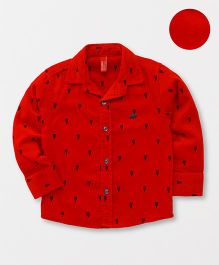 Spark Full Sleeves Printed Shirt - Red