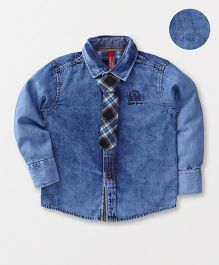 Spark Full Sleeves Denim Shirt With Tie - Blue