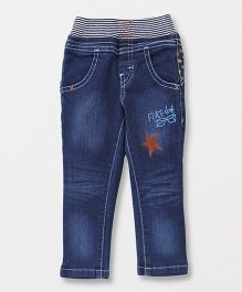 Spark Full Length Pull On Jeans Star Print - Dark Blue