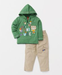 Spark Full Sleeves Sweatshirt And Trouser Animal Patch - Green Cream