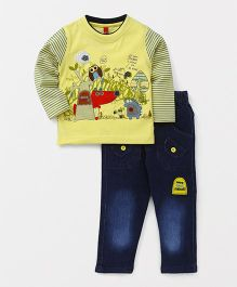 Spark Full Sleeves T-Shirt And Jeans Animal Print - Yellow Blue