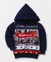 Spark Full Sleeves Hooded Sweatshirt New York Print - Navy Blue