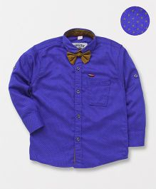Spark Party Wear Full Sleeves Dotted Shirt With Bow - Royal Blue