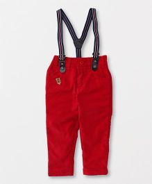 Spark Full Length Corduroy Pants With Suspender - Red