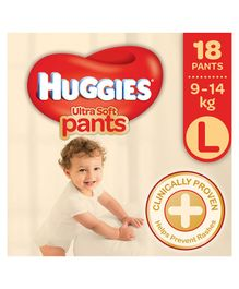 Huggies Ultra Soft Pants Large Size Premium Diapers - 18 Pieces
