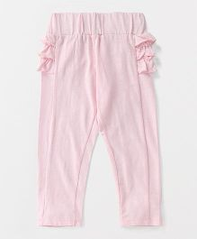 Button Noses Full Length Leggings Ruffle Pattern - Light Pink