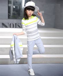 Superfie Striped Top With Jacket & Pants - Grey