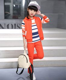 Superfie Striped Top With Jacket & Pants - Orange