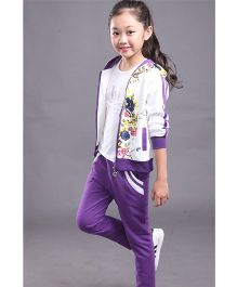 Pre Order - Superfie Floral Print Zipper & Pants - Purple
