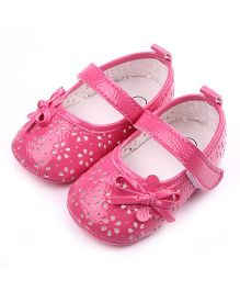 Dazzling Dolls Classic Mary Janes Style Booties With Bow - Pink