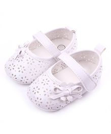 Dazzling Dolls Classic Mary Janes Style Booties With Bow - White