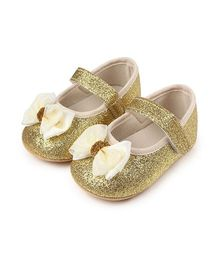Dazzling Dolls Glittery Party Booties With A Bow - Gold