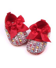 Dazzling Dolls Pearly Party Booties - Red
