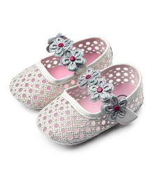 Dazzling Dolls Glittery Classic Mary Jane Style Booties - Silver