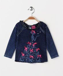 Button Noses Full Sleeves Top Girl Print - Blue