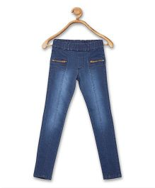 612 League Full Length Jeggings With Zipper Pockets - Blue