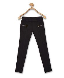 612 League Full Length Jeggings With Zipper Pockets - Black