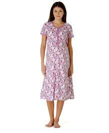 Morph Half Sleeves Maternity Floral Printed Nursing Nighty - Purple