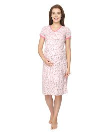 Morph Maternity Printed Feeding Nighty - White & Pink
