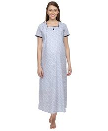 Morph Half Sleeves Maternity Stripes With Floral Print Feeding Gown - Grey