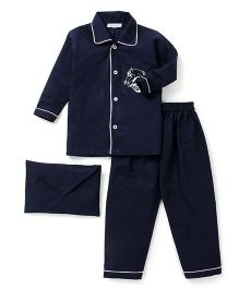 Kidsclan Full Sleeves Shirt And Pajama Horse Embroidery - Navy Blue