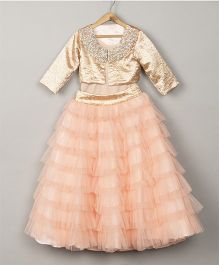 Pre Order - Sugar Candy Frill Tier Skirt & Top With Sequenced Jacket - Peach