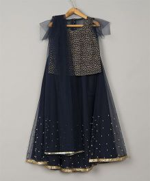 Pre Order - Sugar Candy Sequenced Lehenga With Flutter Sleeve Top & Dupatta - Navy Blue