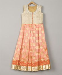 Pre Order - Sugar Candy Boxpleat Lehenga With Sleeveless Blouse - Gold & Beige