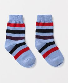Model Stripes Design Woollen Socks - Light Blue